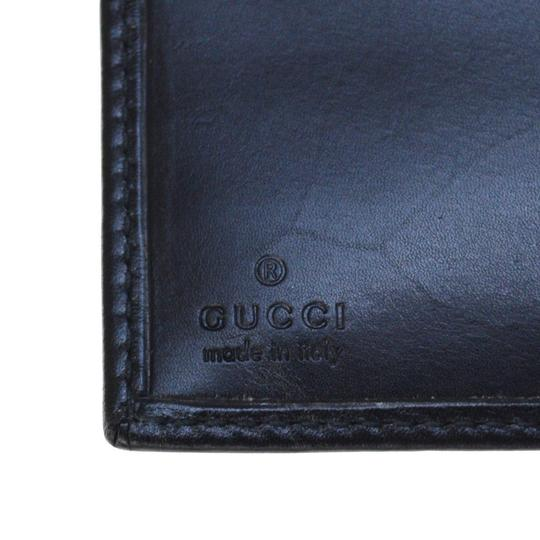 Gucci GUCCI Logos Bifold Wallet Purse Leather Silver PLated Italy