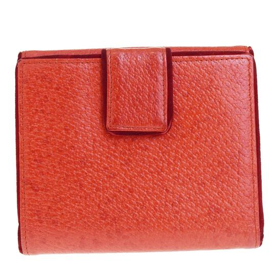 Gucci GUCCI Logos Bifold Wallet Purse Leather Velor Red Italy