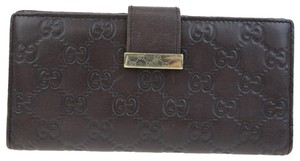 Gucci GUCCI GG Pattern Long Bifold Wallet Purse Leather Brown Italy