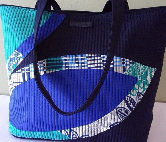 Vera Bradley Quilted Cotton Accents Everyday Tote in blue multi