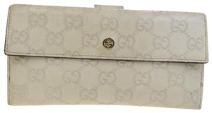 Gucci GUCCI GG Pattern Long Bifold Wallet Purse Leather Ivory Italy