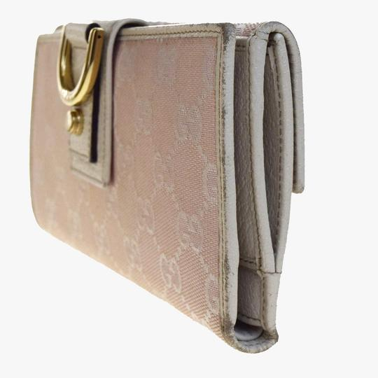 Gucci GUCCI GG Pattern Long Bifold Wallet Purse Canvas Leather Pink Italy