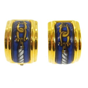 Hermès Hermes Gold Plated Enamel Clip On Earrings