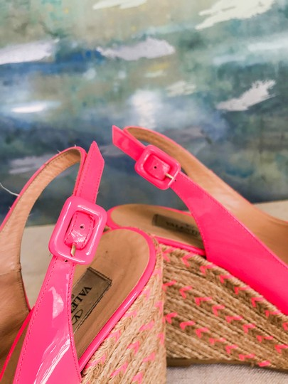 Valentino Patent Leather Espadrille Pink Wedges