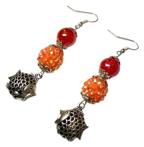 New Fish Charm Dangle Earrings Orange Pink J825