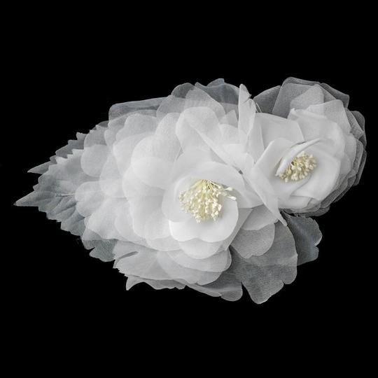 Elegance by Carbonneau Ivory Or White Sheer Flower Headpiece Clip Brooch Hair Accessory
