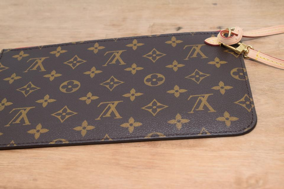 Louis Vuitton Pochette Neverfull Mm Gm Interior Monogram With Red Textile Lining Coated Canvas