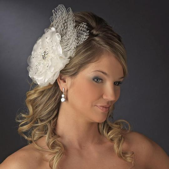 Elegance by Carbonneau Ivory Or White Couture Rhinestone Flower Clip with Russian Tulle Hair Accessory