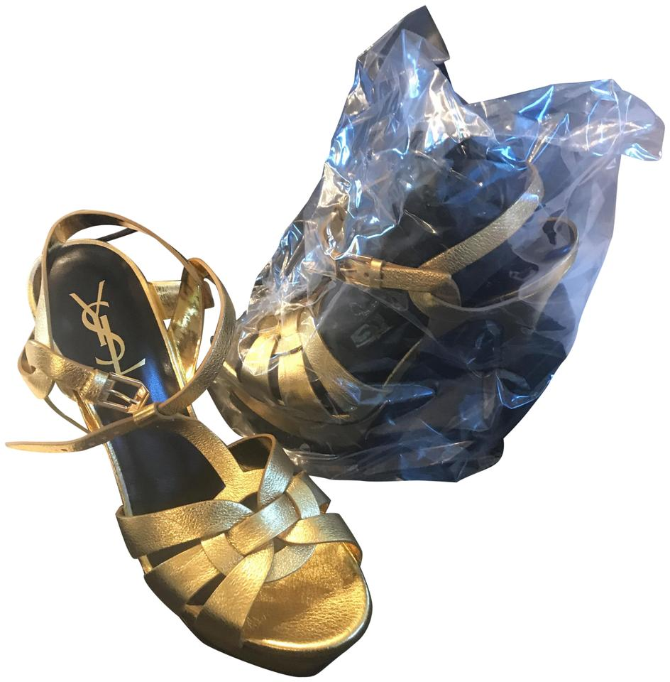Laurent Tribute Saint Platforms Gold Sandals BOWq8w