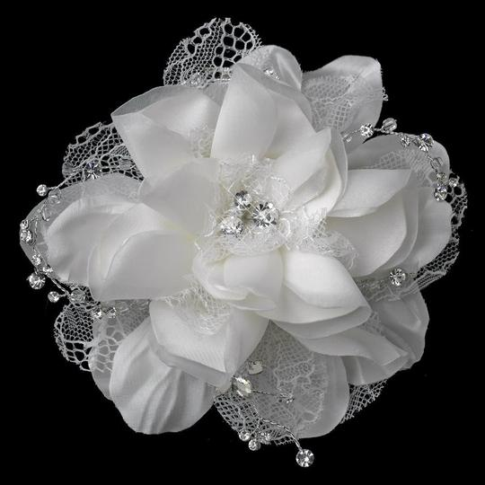 Elegance by Carbonneau Ivory Crystal Rhinestone Accent Flower Clip Hair Accessory