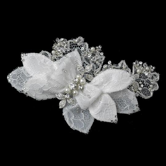 Elegance by Carbonneau Ivory Pearl Rhinestone Bugle Bead Accent Flower Clip Hair Accessory