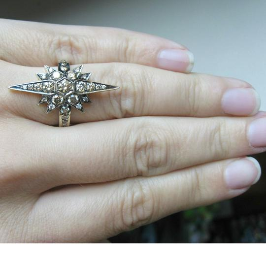 H. Stern H STERN Large 18K Noble Gold Champagne Diamonds Star Ring Size 7.25