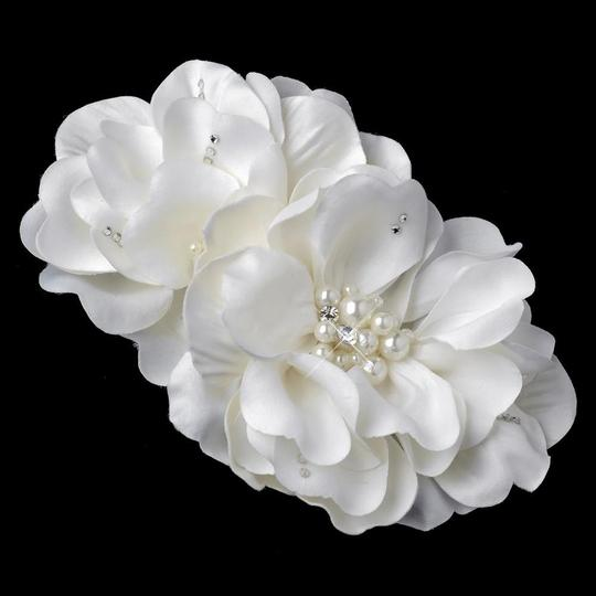 Elegance by Carbonneau Ivory Pearl Rhinestone Accent Flower Clip Hair Accessory