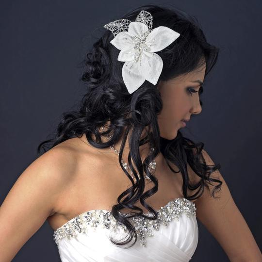 Elegance by Carbonneau Ivory Silver Fabric Accented W/ Bugle Beads Rhinestones Hair Accessory