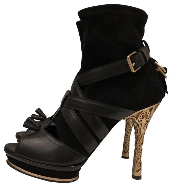 Bally Black Leather and Suede Open Toe Ankle Boots/Booties Size EU 39.5 (Approx. US 9.5) Regular (M, B) Bally Black Leather and Suede Open Toe Ankle Boots/Booties Size EU 39.5 (Approx. US 9.5) Regular (M, B) Image 1
