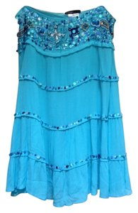 Haven Bleu Skirt Blue with sequins, beads, shells