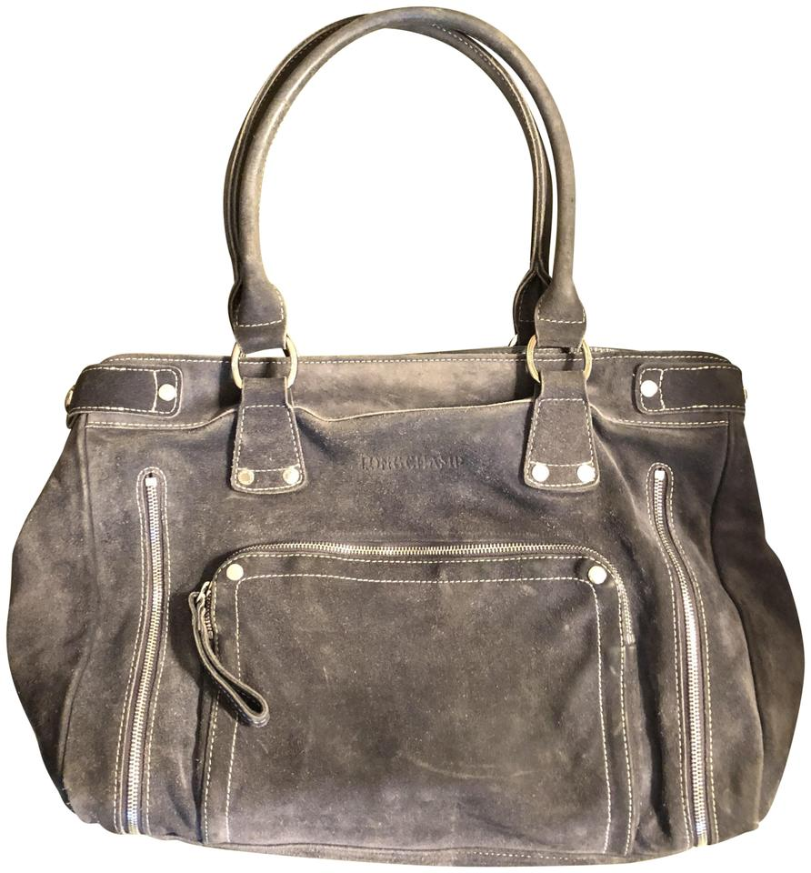 Longchamp Rodeo Luxe Gray Suede Leather Satchel Tradesy