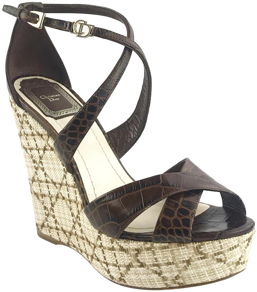 8d813b473 Dior Chocolate Escapade Wedge Sandals Size EU 37.5 (Approx. US 7.5 ...