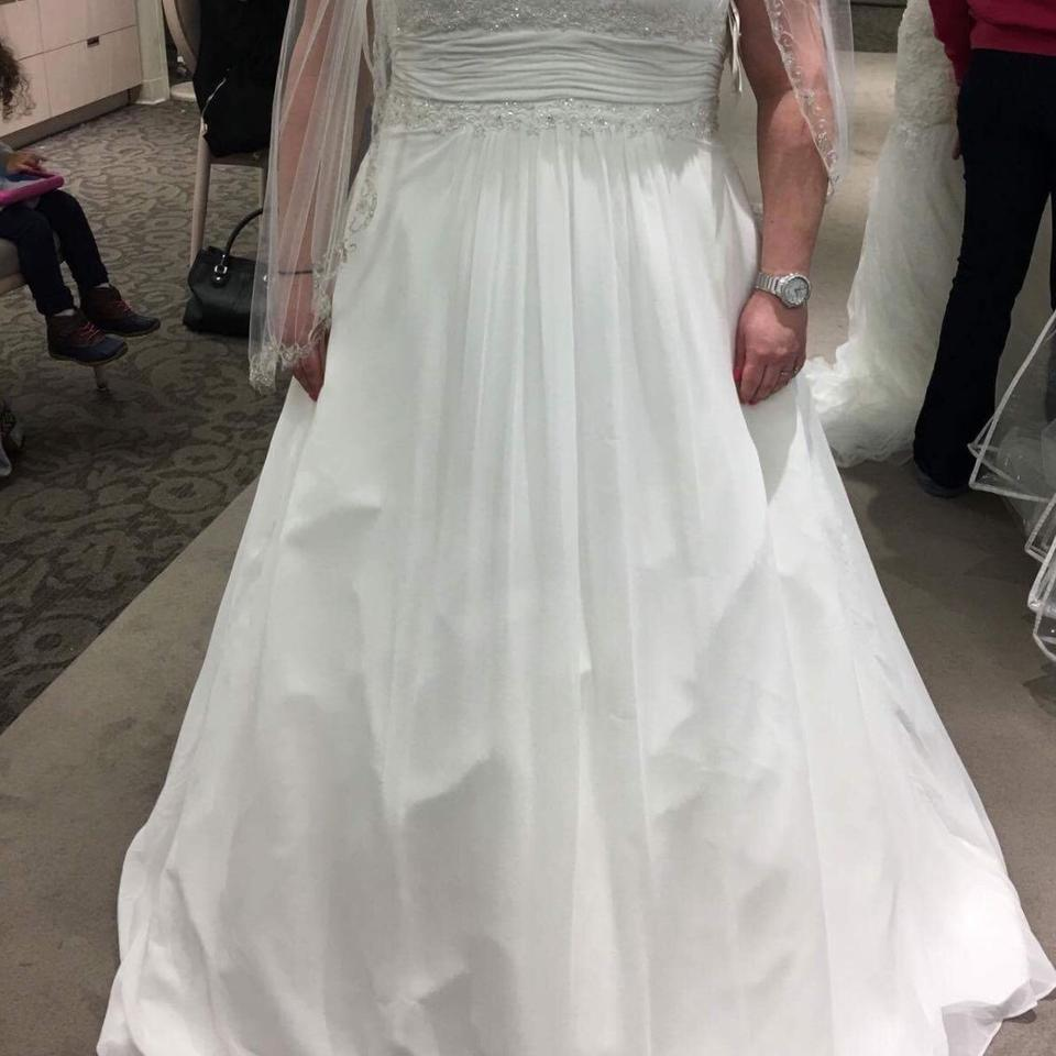 David S Bridal Plus Size Wedding Gowns: David's Bridal Ivory Never Worn And Veil Casual Wedding