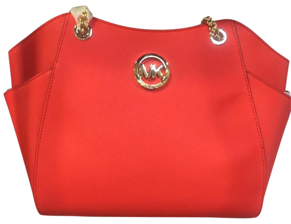 0c97a5761952 Michael Kors Women's Jet Set Travel Saffiano Large Chain Red Leather ...
