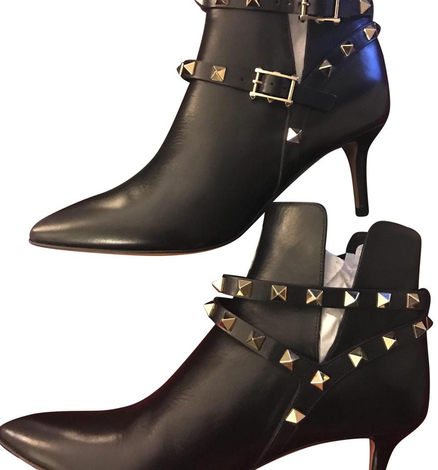 eb446228cc3 Valentino Black Rockstud Napa Leather 65mm Ankle Boots Booties Size ...