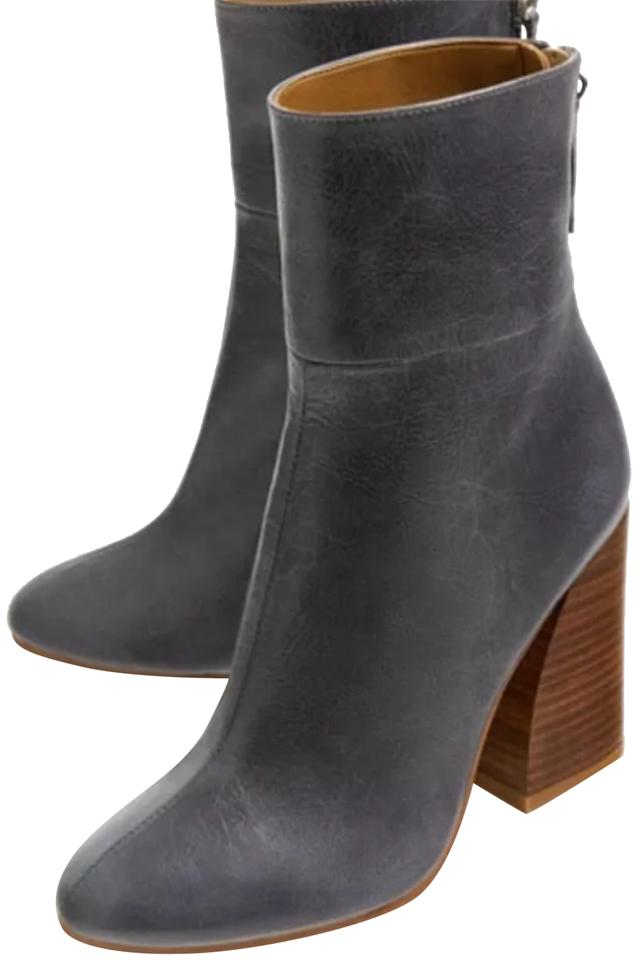 Zara Wooden Grey Leather Ankle with Wooden Zara Heel Zip Boots/Booties a6a909
