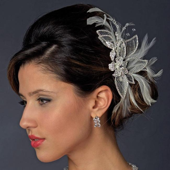 Item - Diamond White Silver and Feather Crystal Rhinestone Clip Hair Accessory