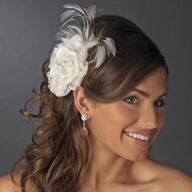 Item - Ivory Or White W Lace Flower Clip W/ Rhinestones Feather Hair Accessory