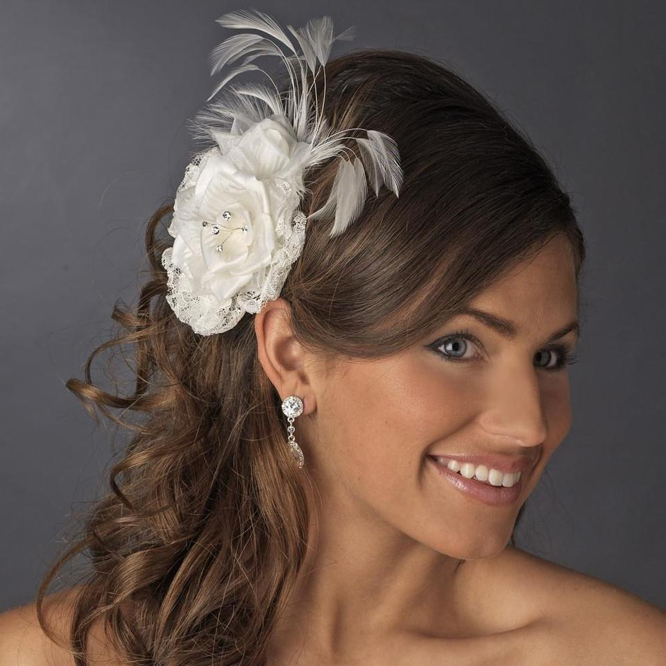 Elegance By Carbonneau Ivory Or White W Lace Flower Clip W Rhinestones Feather Hair Accessory 44 Off Retail