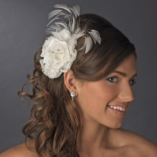 Elegance by Carbonneau Ivory Or White Lace Flower Clip W/ Rhinestones Feather Hair Accessory