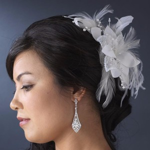 Elegance by Carbonneau Ivory Or White Feather Fascinator with Sequins Bugle Beads Clip Hair Accessory