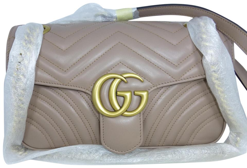 f2b26c4bf665 Gucci Marmont Gg Matelasse Small Nude Calfskin Leather Shoulder Bag ...