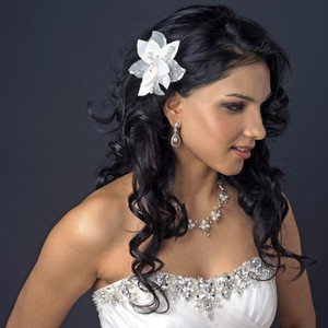 Elegance by Carbonneau Ivory Flower Fascinator with Pearl Swarovski Crystal Bead Clip Hair Accessory