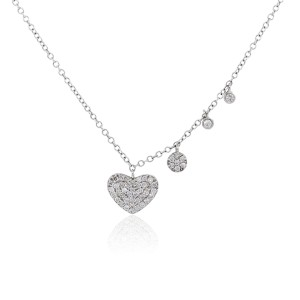 Meira T Meira T 14k White Gold 0.32ctw Diamond Pave Heart Necklace
