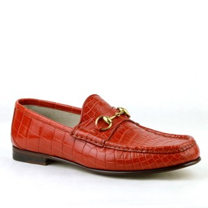 2cbe775c52b Gucci Red Orange Horsebit Crocodile Leather Loafer Gold 10   Us 10.5 307929  6432 Shoes