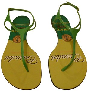 Casadei Shimmer Quality Whimsical Design Made In Italy Green Sandals