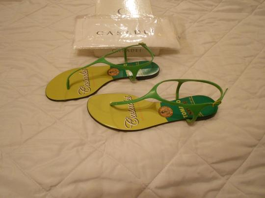 Casadei Shimmer Quality Whimsical Design Made In Italy Green Sandals Image 1
