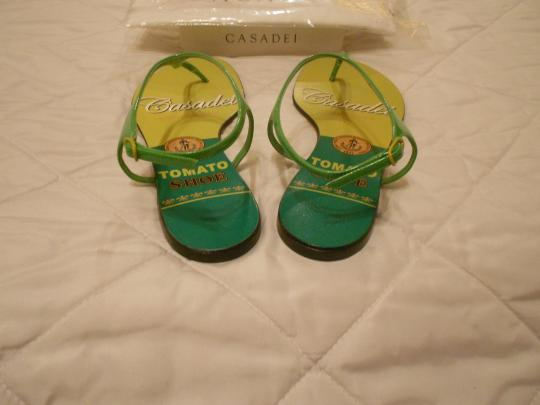 Casadei Shimmer Quality Whimsical Design Made In Italy Green Sandals Image 2