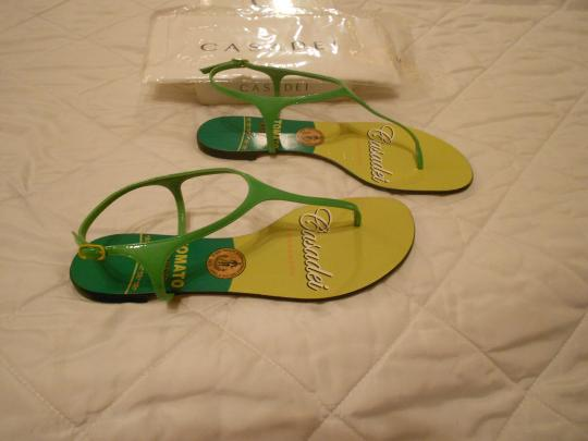 Casadei Shimmer Quality Whimsical Design Made In Italy Green Sandals Image 3