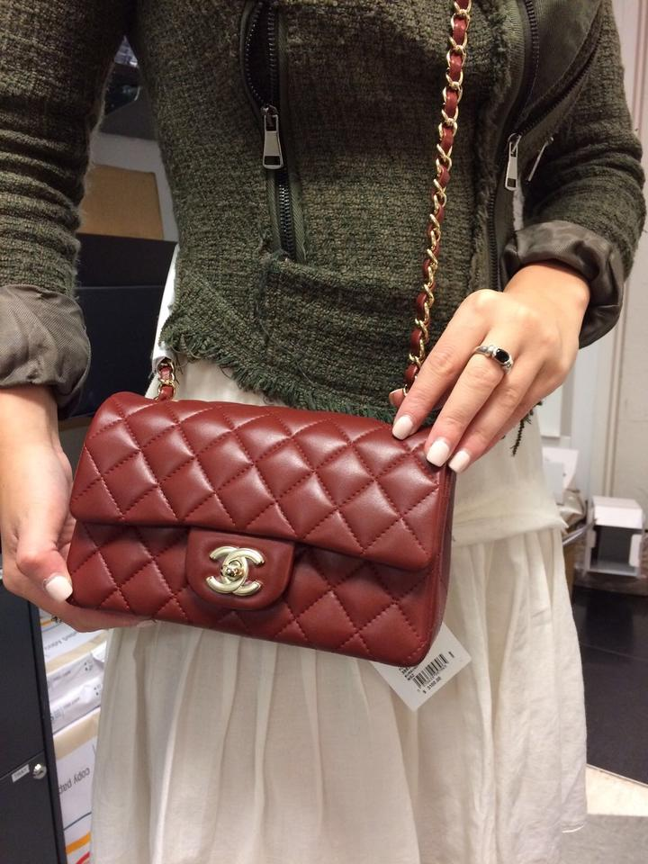 d364e8b181584a Chanel Classic Rectangular Mini Flap with Ghw Burgundy Lambskin ...
