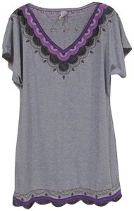 Lucca Couture short dress Gray, Purple, Black Embroidered V-neck on Tradesy