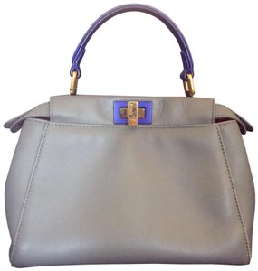 Fendi Satchel in Gray blue and red inside