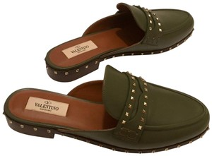 Valentino Studded Leather Slip On green Mules