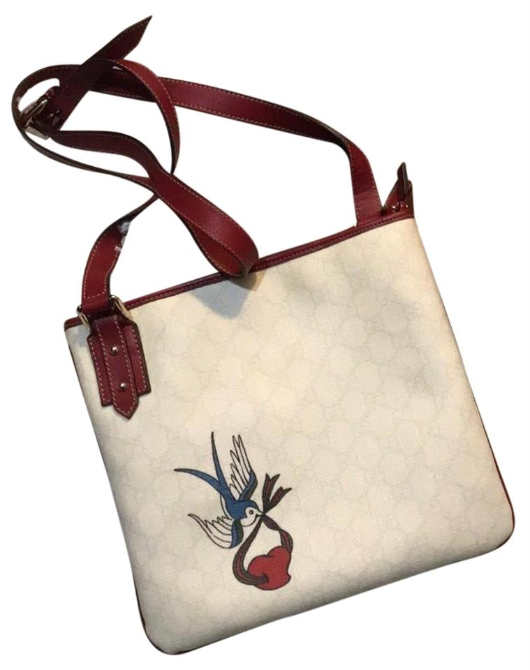 17ca7e7944ee Gucci Messenger Heart Bird Tattoo Off-white Gg Monogram Coated ...
