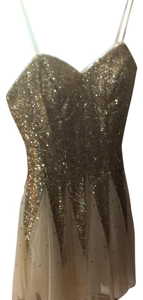 Bee Darlin Gold Sequin and Cream Strapless Prom Short Formal Dress ...