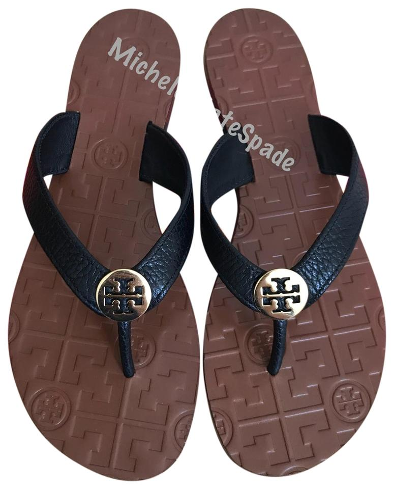 5bb8c6bb0 Tory Burch Black 8.5m Thora Thong Leather Sandals Size US 8.5 ...