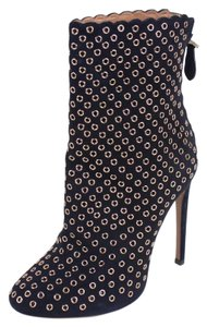 ALAÏA Leather Suede Eyelet Embellished Stiletto Round Toe Navy Blue Boots