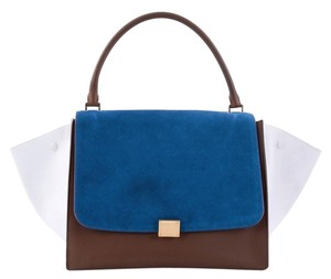 Céline Tricolor Trapeze Tote in brown and white