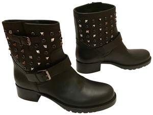 Valentino Studded Leather Calf Leather Ankle Black Boots