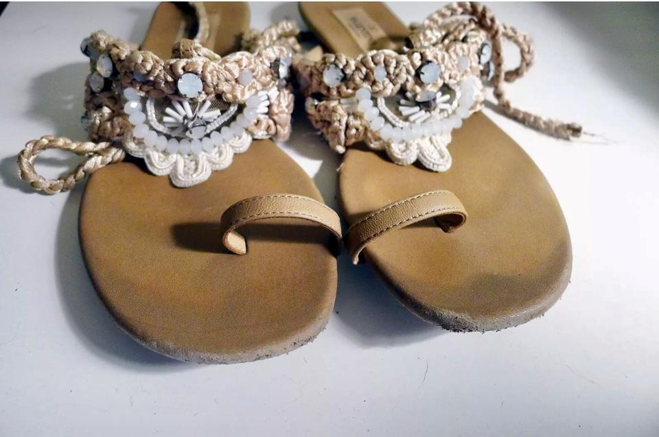 7708dc63a Valentino Tan Beaded Embellished Rope Tie Flat Sandals Size EU 36 ...